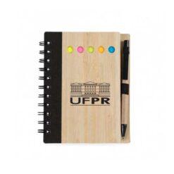 Caderno capa madeira com caneta