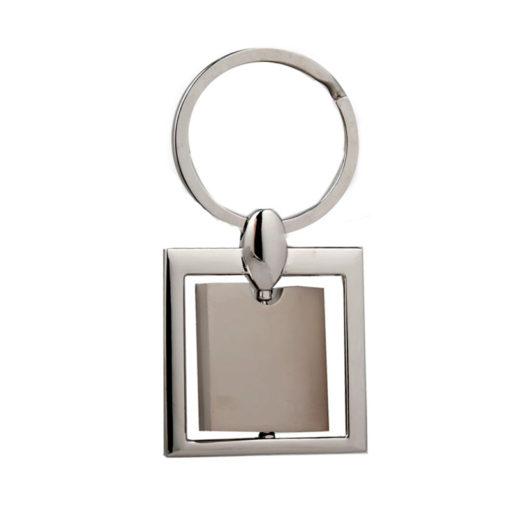 Chaveiro quadrado metal giratório 1