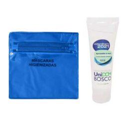 kit saúde álcool gel porta máscara